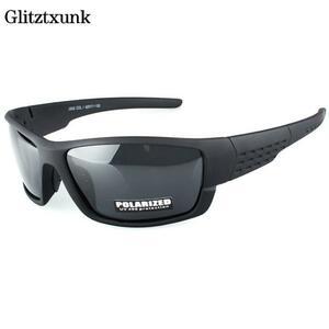 Glitztxunk 偏光サングラス男性ブランドデザイナー正方形スポーツサングラス男性ドライ黒フレームゴーグル UV400 okulary