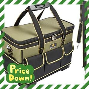 グリ-ン Drado ツールバッグ 工具バッグ 工具袋 道具袋 工具差し入れ 肩掛けベルト付き 大口収納 1680Dオックスフォ