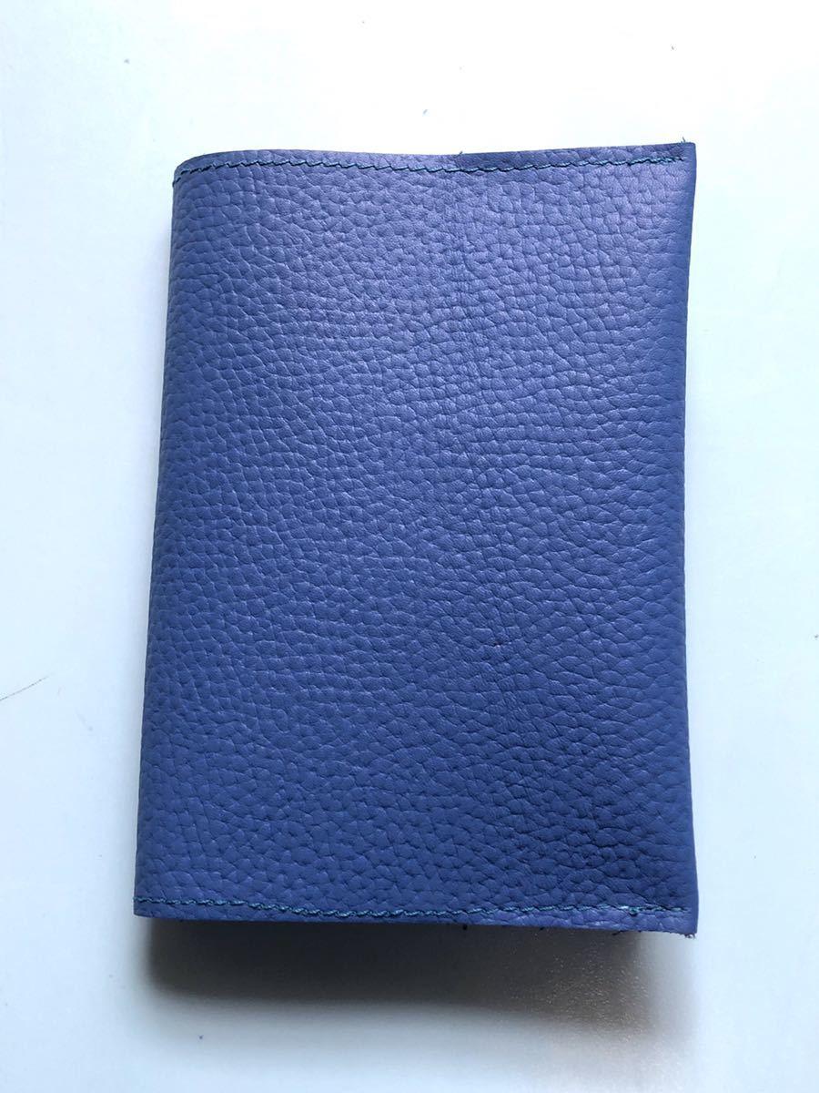 日本製★本革ブックカバーシュリンクレザー16.3×31.2cm 文庫サイズ ブルー★新品