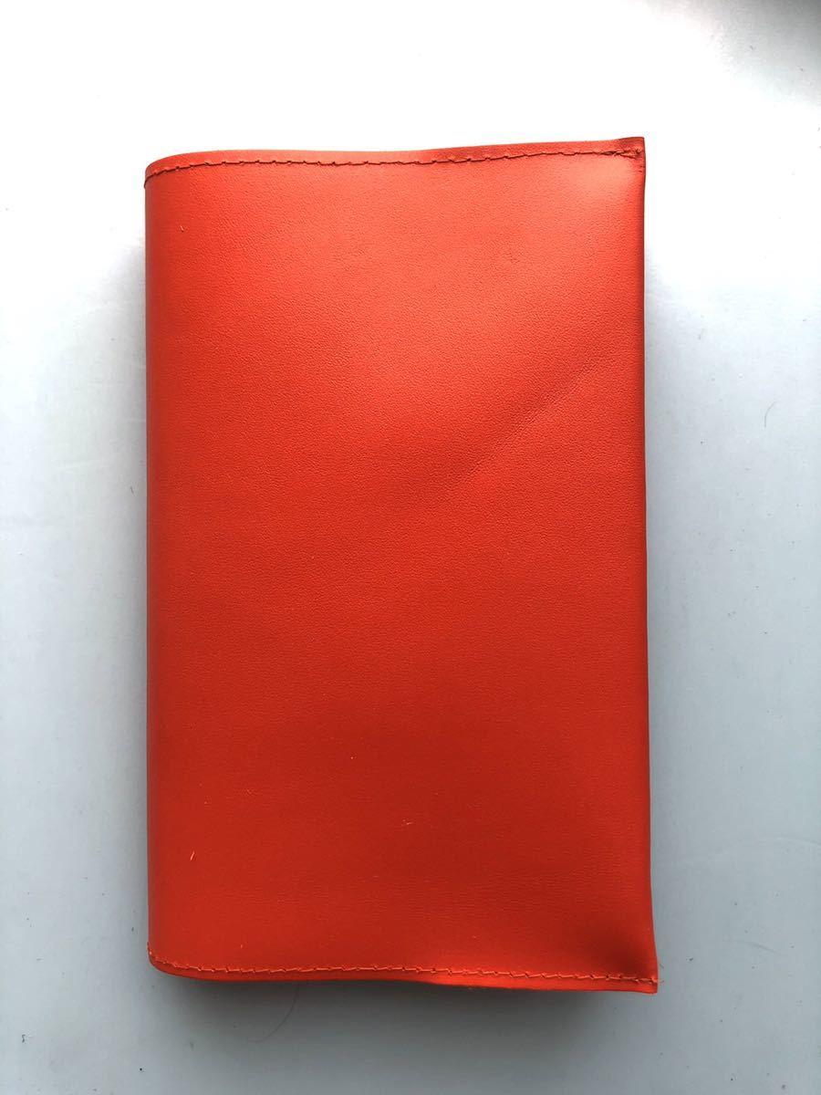 日本製★本革ブックカバー 18.4×32.7cm 新書サイズ オレンジ★新品