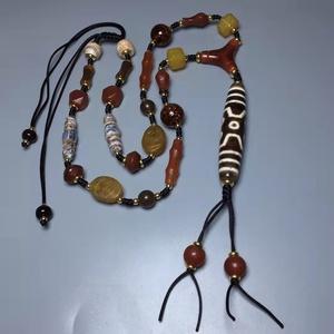 『収蔵家蔵・瑪瑙製・老天珠・七眼天珠ネックレス』根付 裝身具・古賞物・古美術品・蔵伝珍蔵品102135