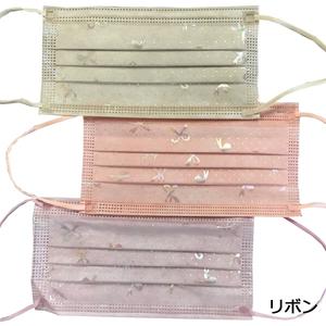 チュールレース付き不織布カラーマスク リボン 12枚入り(パープル ピンク ベージュ×各4枚) 大人サイズ 花粉対策 飛沫対策 3層構造