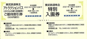 ○東武鉄道 株主優待券 東武動物公園 入園券+アトラクションパス割引券 1set(単位)~9組迄 2021年12月末迄有効