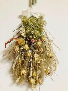 Handmade◆ドライフラワー◆スワッグ◆壁飾り◆シマススキ*ニゲラ*ピンクアナベル*かすみ草botanical swag◆56㎝***