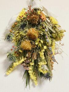 Handmade◆ハンドメイド◆ドライフラワー◆swag◆スワッグ◆壁飾り◆ブーケ◆native flower botanical swag◆52㎝***