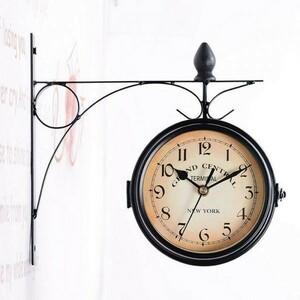 【1円~】ウォールクロック 両面壁掛け時計 ブラケット22cm ヴィンテージ アンティーク インテリア ヨーロピアン レトロ