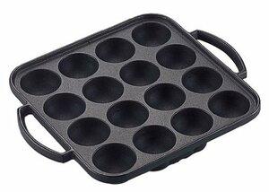 ブラック サイズ:25.5×20.5×高さ3.5cm 池永鉄工 たこ焼き器 日本製 IH対応 16穴 ブラック サイズ:25.5