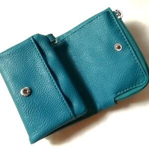 ミニ財布、二つ折り財布 ターコイズブルー