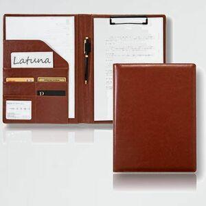 新品 目玉 バインダ- [Latuna] H-S8 (ブラウン, PUレザ-) A4 革 クリップボ-ド ギフト 贈り物 高級感 クリップ ファイル 二つ折り
