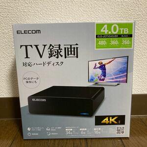 【新品】ELD-JOTV040UBK エレコム 外付けハードディスク[4TB ブラック]