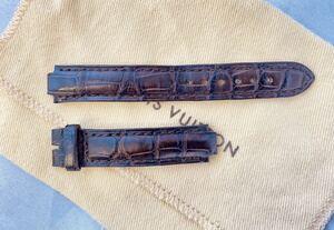 LOUIS VUITTON レディース タンブール用 純正 腕時計ベルト 中古 クロコダイル ブラウン 取付幅8mm ラグ14mm Dバックル