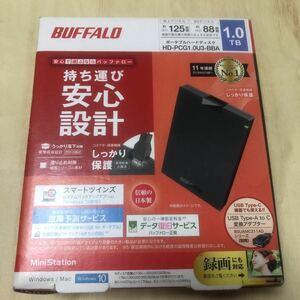 バッファロー HD-PCG1.0U3-BBA ミニステーション USB3.1Gen1 USB3.0 ポータブルHDD 1TB ブラック ポータブル 外付けハードディスク