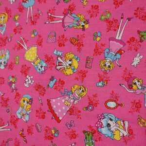 ルシアン LECIEN おとめちっくレトロガール 復刻版 生地 布 はぎれ シーチング 濃いピンク【生地幅110×100センチ】