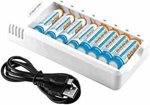白い バッテリーを含む VIWIPOW 急速電池充電器セット 単三・単四ニッケル水素 充電器 単3 電池(2800mAh*4)+