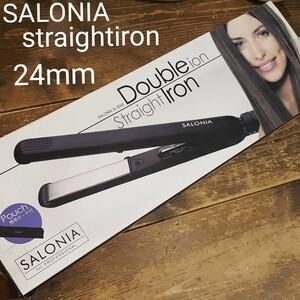 新品 サロニア SALONIA ストレート アイロン SL-004S ブラック ダブルイオン