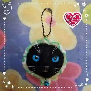 羊毛フェルト猫 どろぼう猫ちゃん ほっかむり猫 羊毛フェルト作品 羊毛フェルトどろぼう猫ストラップ ほっかむり猫ストラップ 黒猫