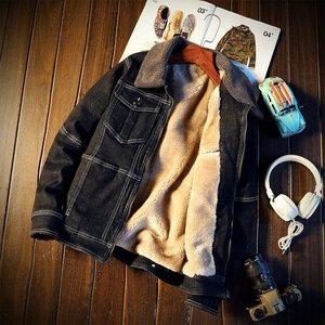 デニム ジャケット スタンドカラー 秋冬アウタ 防寒トップス 裏起毛 厚手 人気 ジャンパー ブルゾン サイズM