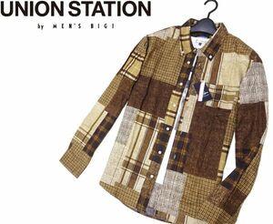 新品▼ メンズビギ UNION STATION by MEN'S BIGI▼ JAPAN FABRIC ツイード転写プリント 長袖 BD パッチワークシャツ (L)BRN