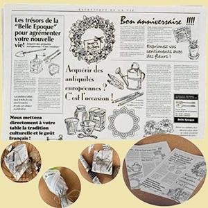 大人気 新品 未使用 お花や,ギフト商品のラッピングに! フランスの新聞紙風プリント K-AE 100枚 【】 仏字・英字 包装紙