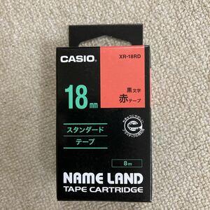 カシオ ネームランド テープ18ミリ 赤