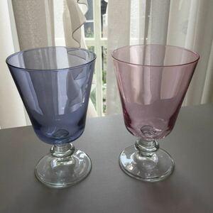 ザラホーム グラス 2客セット バーブルブルー色とピンク色 ZARA HOME