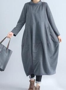 ゆるーいタートルネックがかわいい★新品☆大きいサイズ☆スカートぷっくり切り替えロング丈ワンピグレー