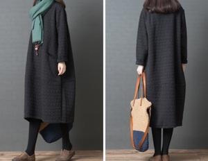 秋から冬のぽこぽこ素材がかわいい★新品☆大きいサイズ☆少し厚手のあったか素材ロング丈ワンピスカートぷっくり黒