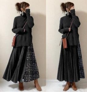 タートルネックのニットとプリーツスカートの2点セット★新品☆フリーサイズ★マキシ丈スカート