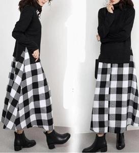 タートルネックのセーター&ギンガムチェックのスカート★ドッキングワンピ★大きいサイズもOK