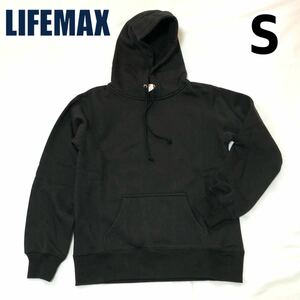 【新品】LIFEMAX ライフマックス メンズ レディース フーディ 男女兼用 10oz プルオーバーパーカ パーカー 裏起毛 ブラック 黒 S