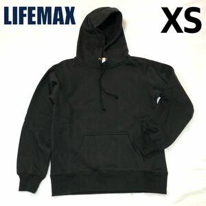 【新品】LIFEMAX ライフマックス メンズ レディース フーディ 男女兼用 10oz プルオーバーパーカ パーカー 裏起毛 ブラック 黒 XS