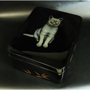 ■ 板谷光治 ■ 輪島塗 沈金毛彫猫文様 文箱 <21101914>