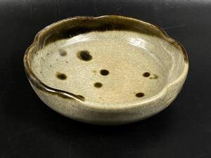 【朝】古唐津 斑唐津 小皿 在銘 晃 時代美品 径13.8cm
