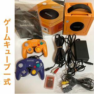 ゲームキューブ本体 GC オレンジ コントローラー2つ メモリーカード251 ACアダプター ステレオAVケーブル S端子ケーブル