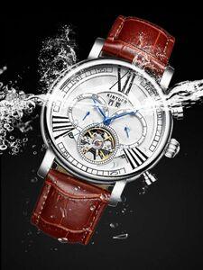 【一点のみ】メンズ高級腕時計 機械式自動巻 42mm カレンダー 曜日表示 トゥールビヨン 多機能 本革ベルト 夜光 防水 紳士ウォッチ