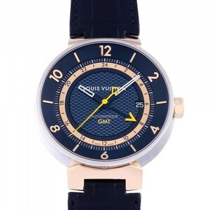 ルイ・ヴィトン LOUIS VUITTON タンブール ムーン オートマティック GMT 50本限定 Q8E30Z ブラック文字盤 中古 腕時計 メンズ