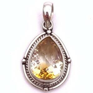 天然石シトリン(黄水晶)silver925トップ-SLT2