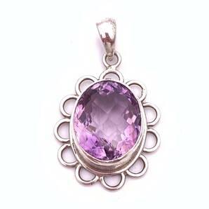 天然石アメジスト(紫水晶)silver925トップ-011