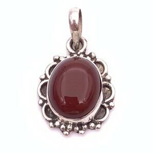 天然石レッドアゲート(赤メノウ)silver925トップ―0MA1