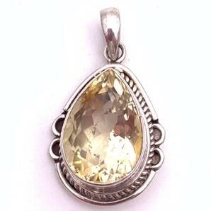 天然石シトリン(黄水晶)silver925トップ―0M1