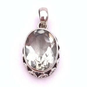 天然石グリーンアメジスト(プラシオライト)silver925トップ-021