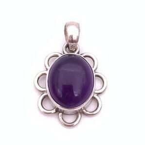 天然石アメジスト(紫水晶)silver925トップ-012