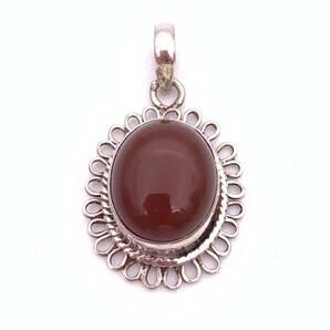 天然石レッドアゲート(赤メノウ)silver925トップ-011