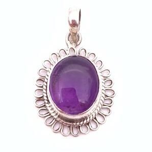 天然石アメジスト(紫水晶)silver925トップ-016