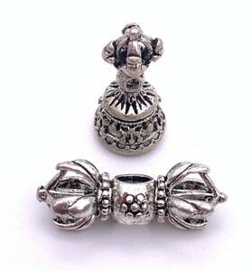 豆法具◆チベット密教法具 ガンター(金剛鈴)&五鈷杵セット-1