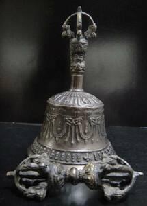 チベット密教法具 ガンター(金剛鈴)&五鈷杵ーブラックM
