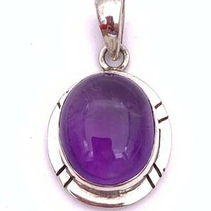 天然石アメジスト(紫水晶)silver925トップ-0AS5