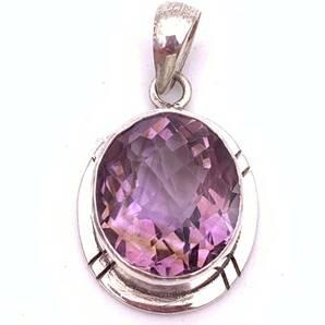 天然石アメジスト(紫水晶)silver925トップ-0AS6