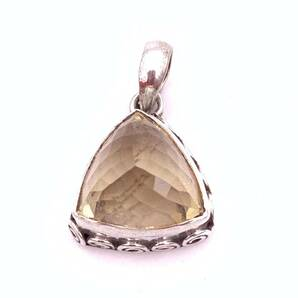天然石シトリン(黄水晶)silver925トップ-021