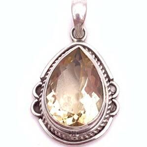 天然石シトリン(黄水晶)silver925トップ―0M2